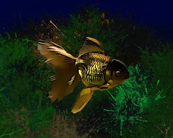Digital Art - A 24k Goldfish  by Scott Wallace Digital Designs