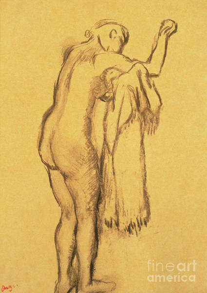 Wall Art - Drawing - A Bather Drying Herself By E Degas by Edgar Degas
