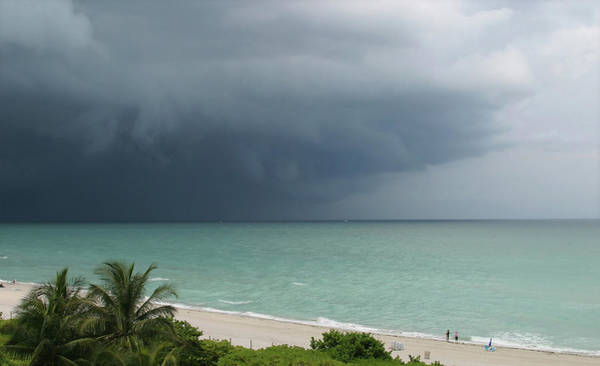 Storm Photograph - A Beautiful Beach With A Cloudy Storm by Fotofrog