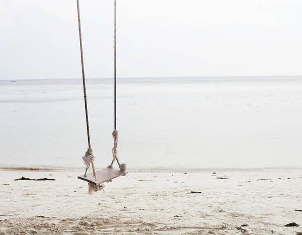 A Beautiful Looking Swing At The Beach Art Print
