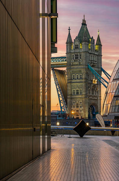 Wall Art - Photograph - A Beautiful Sunrise At Tower Bridge In London by George Afostovremea