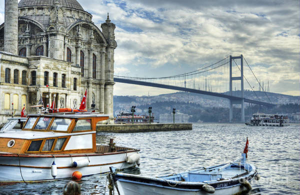 Wall Art - Photograph - A Beautiful View Of Ortakoy Mosque And by Senai Aksoy