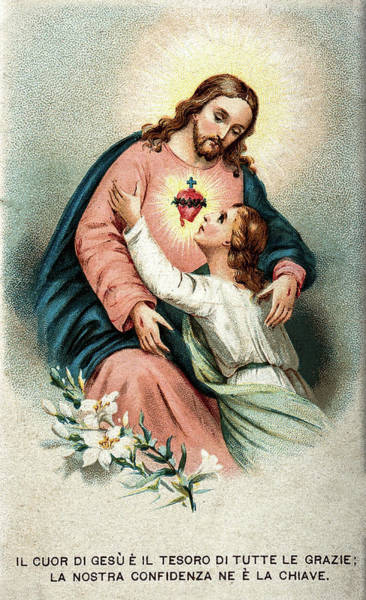 Wall Art - Painting - A Believing Soul Embracing Christ's Sacred Heart by American School