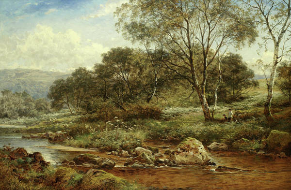 Leader Painting - A Birchwood On The Llugwy by Benjamin Williams Leader