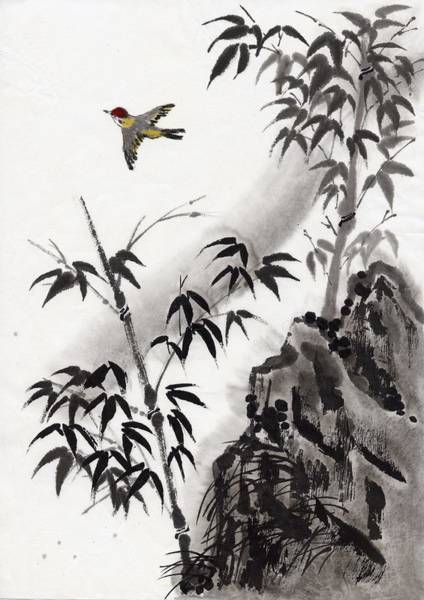 Wall Art - Digital Art - A Bird And Bamboo Leaves, Ink Painting by Daj