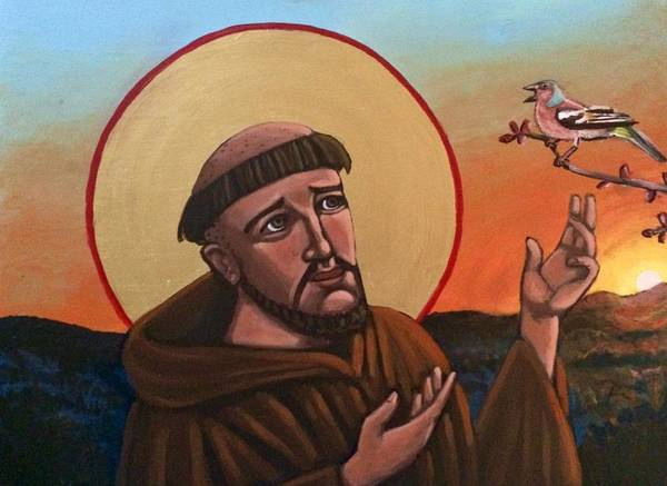 Painting - A Bird Preaches To Francis by Kelly Latimore