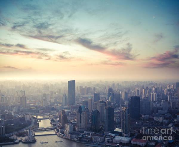 Dusk Wall Art - Photograph - A Birds Eye View Of Shanghai At Dusk by Chuyuss