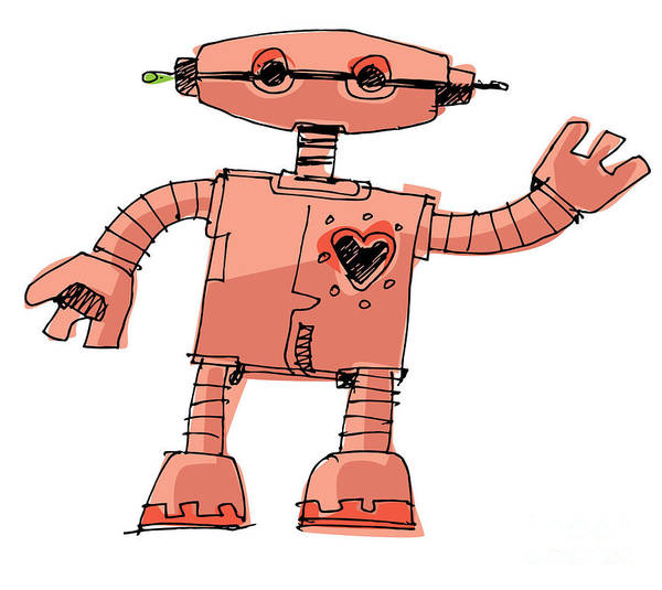 Wall Art - Digital Art - A Bit Wired Cute Robot - Cartoon by Iralu