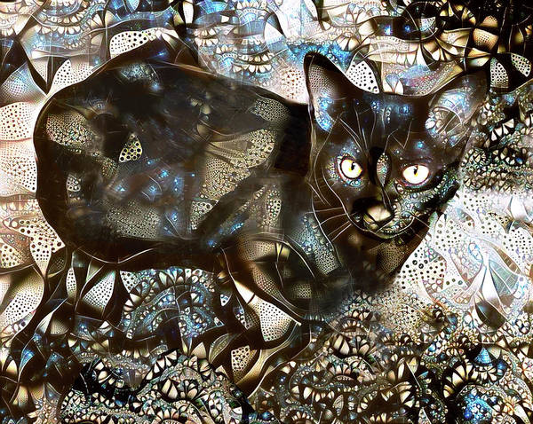 Digital Art - A Black Cat Named Versace by Peggy Collins