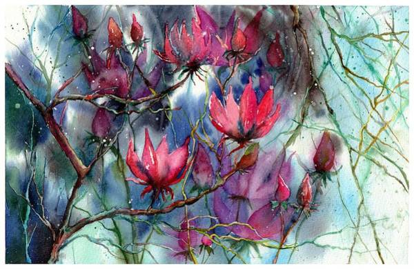 Arkansas Wall Art - Painting - A Blooming Magnolia by Suzann Sines