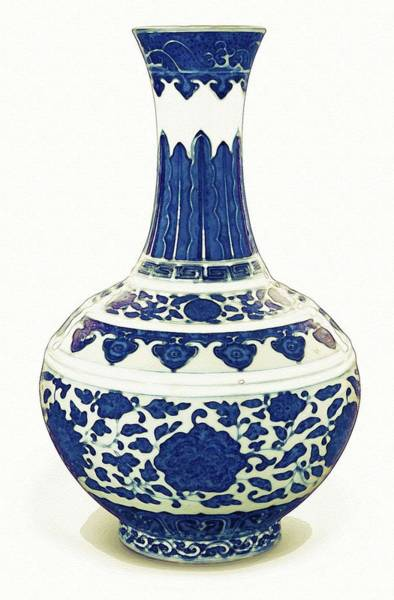 Painting - A Blue And White Bottle Vase Watercolor By Ahmet Asar by Ahmet Asar