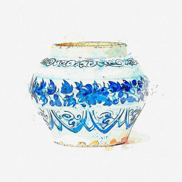 Painting - A Blue And White  Chrysanthemum Jarlet Yuan Dynasty  1279-1368  Watercolor By Ahmet Asar by Ahmet Asar