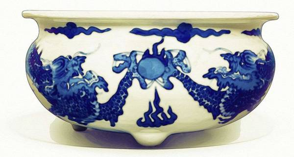 Painting - A Blue And White  Dragon Censer Qing Dynasty Kangxi Period Watercolor By Ahmet Asar by Ahmet Asar
