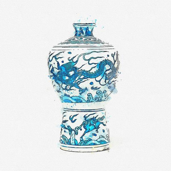 Painting - A Blue And White  Dragon  Vase Meiping Wanli Period  1573-1619 Watercolor By Ahmet Asar by Ahmet Asar