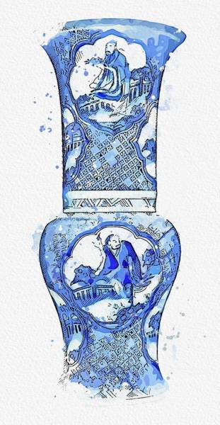 Painting - A Blue And White  Eight Immortals Yen Yen Vase Watercolor By Ahmet Asar by Ahmet Asar