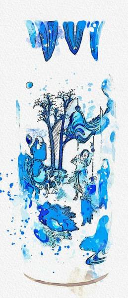 Painting - A Blue And White  Figural Vase Qing Dynasty  Kangxi Period Watercolor By Ahmet Asar by Celestial Images