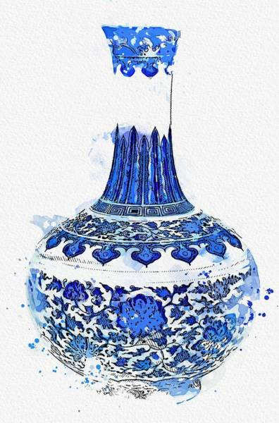 Painting - A Blue And White  Floral  Bottle Vase Seal Mark And Period Of Qianlong Watercolor By Ahmet Asar by Ahmet Asar