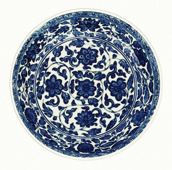 Painting - A Blue And White  Flower Scroll Dish Watercolor By Ahmet Asar by Ahmet Asar
