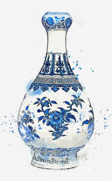 Painting - A Blue And White Garlic Mouth Bottle Vase Daoguang Seal Mark And Period Watercolor By Ahmet Asar by Ahmet Asar