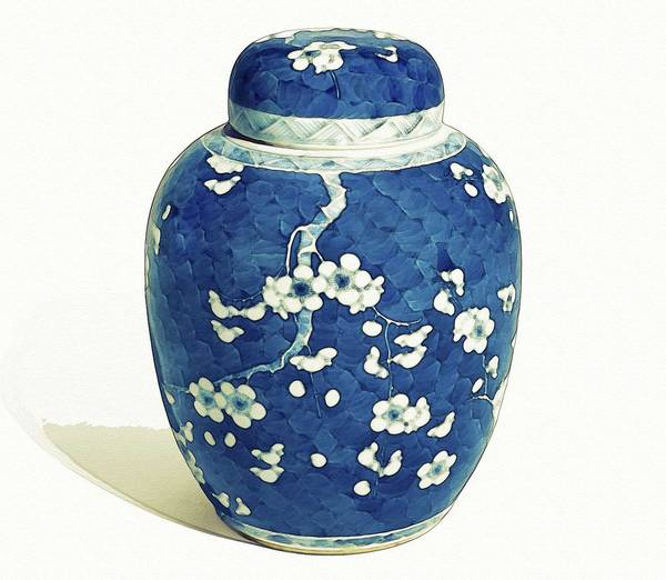 Painting - A Blue And White Jar And Cover Qing Dynasty 19th Century Watercolor By Ahmet Asar by Ahmet Asar