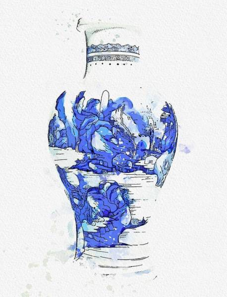 Painting - A Blue And White  Landscape Vase Qing Dynasty Kangxi Period 2 Watercolor By Ahmet Asar by Ahmet Asar