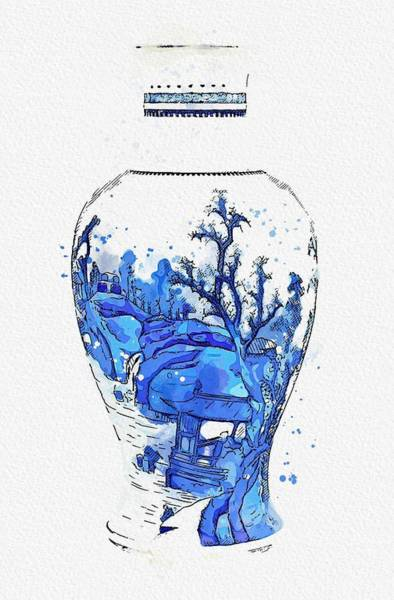 Painting - A Blue And White  Landscape Vase Qing Dynasty  Kangxi Period 3 Watercolor By Ahmet Asar by Ahmet Asar