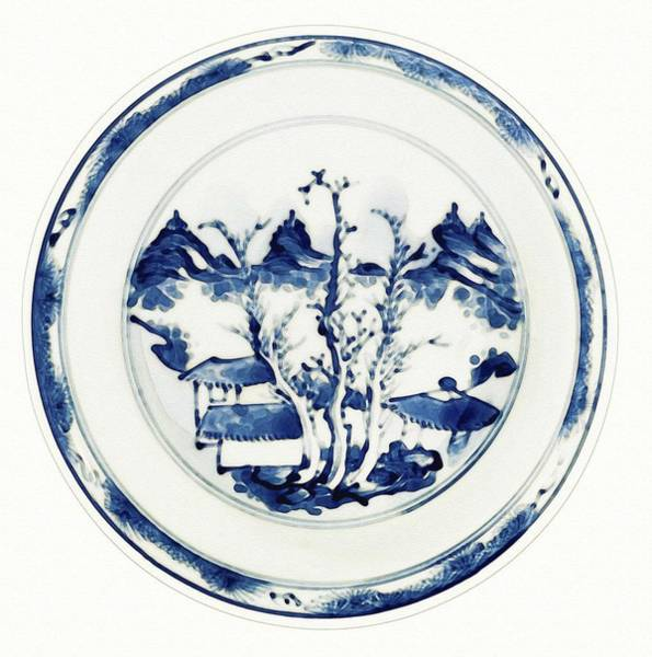 Painting - A Blue And White  Master Of The Rocks  Dish Watercolor By Ahmet Asar by Ahmet Asar