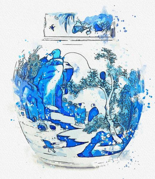 Painting - A Blue And White Ovoid Jar And Cover Qing Dynasty  Kangxi Period Watercolor By Ahmet Asar by Celestial Images