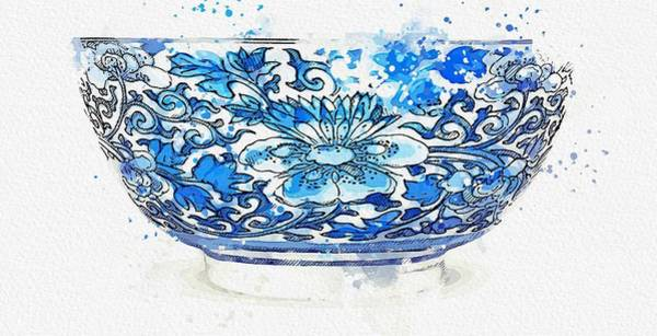 Painting - A Blue And White  Peony  Bowl Watercolor By Ahmet Asar by Ahmet Asar