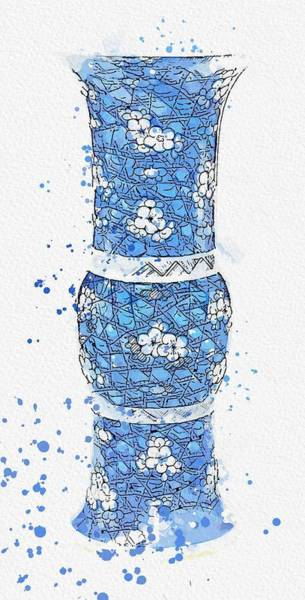 Painting - A Blue And White  Prunus  Vase Gu Qing Dynasty 18th - 19th Century Watercolor By Ahmet Asar by Ahmet Asar