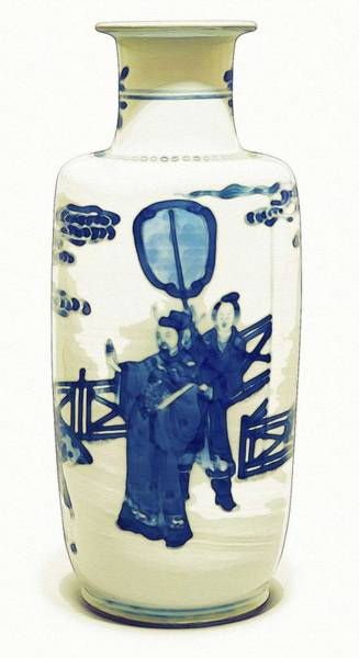 Painting - A Blue And White Rouleau Vase Qing Dynasty  Kangxi Period Watercolor By Ahmet Asar by Ahmet Asar