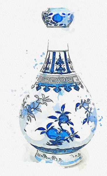 Painting - A Blue And White  Sanduo  Garlic-mouth Bottle Vase Watercolor By Ahmet Asar by Ahmet Asar