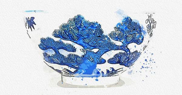Painting - A Blue And White  Three Friends  Bowl Guangxu Mark And Period Watercolor By Ahmet Asar by Ahmet Asar