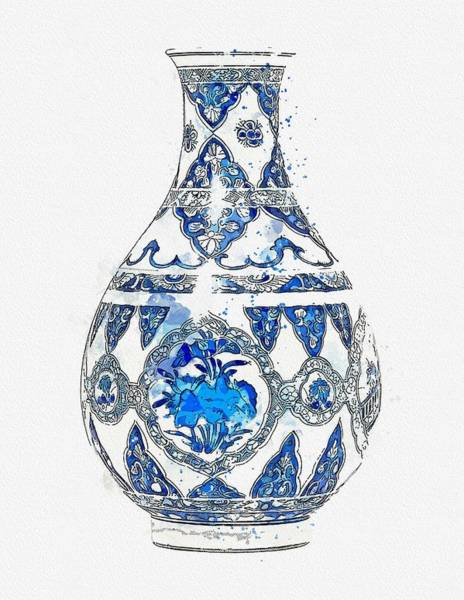 Painting - A Blue And White Vase Kangxi Period  1662-1722  Watercolor By Ahmet Asar by Celestial Images