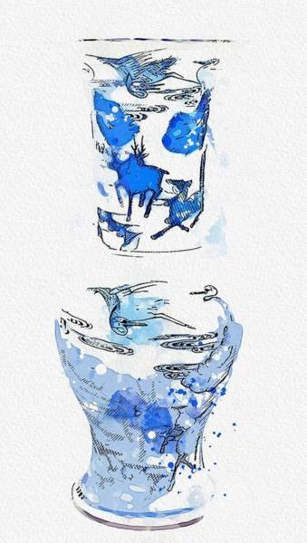 Painting - A Blue And White Yenyen Vase Watercolor By Ahmet Asar by Ahmet Asar