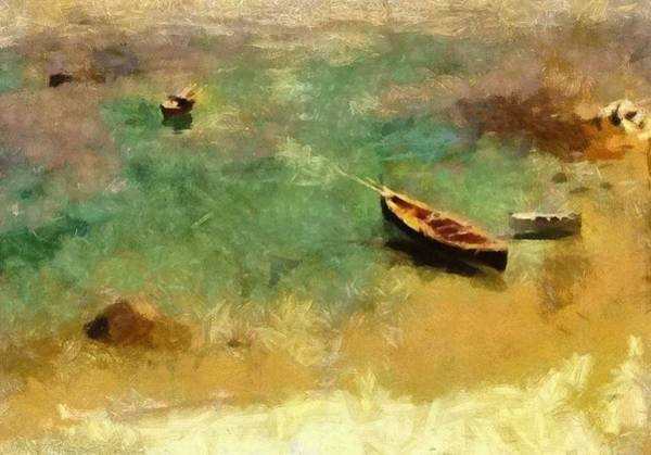 Wall Art - Painting - A Boat In The Waters Off Capri ,  John Singer Sargent by Celestial Images