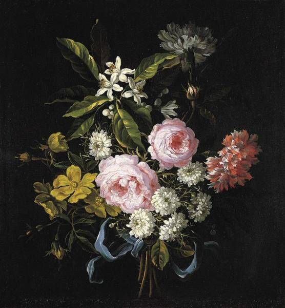 Wall Art - Painting - A Bouquet Of Chamomile, French Roses And Other Flowers Jean-baptiste Monnoyer by Celestial Images