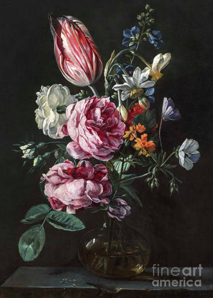 Wall Art - Painting - A Bouquet Of Narcissus, Parrot Tulip, Roses And Other Flowers In A Glass Vase On A Stone Plinth by Antwerp School