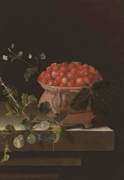 Painting - A Bowl Of Strawberries With Gooseberries On A Stone Ledge by Adriaen Coorte