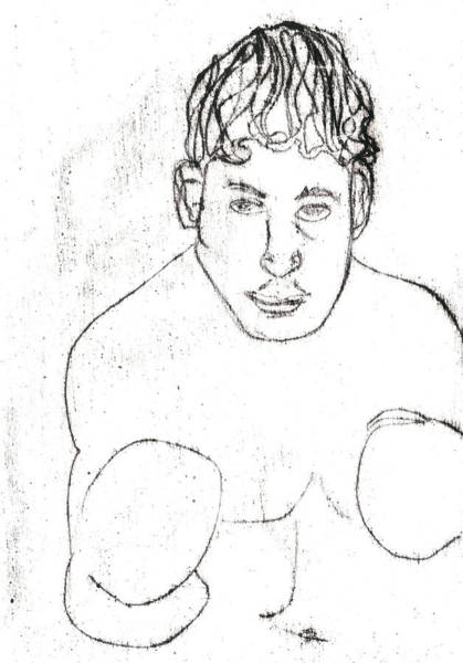 Drawing - A Boxer Boxing by Artist Dot