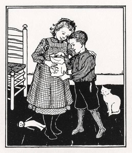 Wall Art - Painting - A Boy And A Girl By Julie De Graag  1877-1924  by Celestial Images