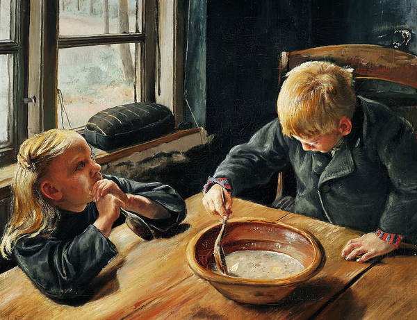 Painting - A Boy And A Girl Eating Supper by Laurits Andersen Ring