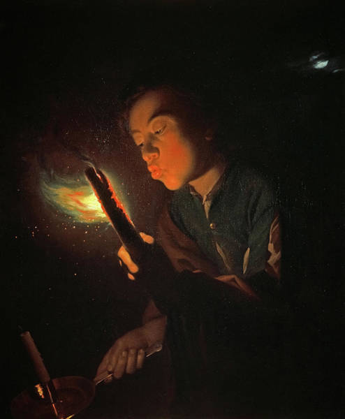 Wall Art - Painting - A Boy Blowing On A Firebrand To Light A Candle, 1698 by Godfried Schalcken