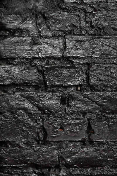 Brick Wall Photograph - A Brick Wall Painted Black, Full Frame by Halfdark