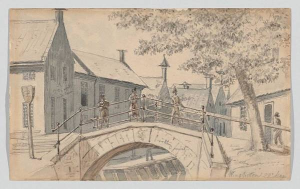 Wall Art - Painting - A Bridge Over A Canal In Winschoten, Martinus Rorbye by Celestial Images