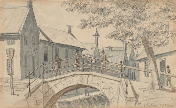 Drawing - A Bridge Over A Canal In Winschoten by Martinus Rorbye