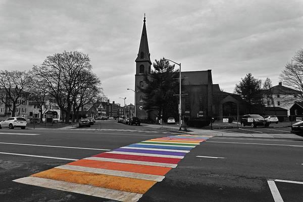 Photograph - A Bright Rainbow On An Overcast Day Salem Ma Rainbow Crosswalk by Toby McGuire