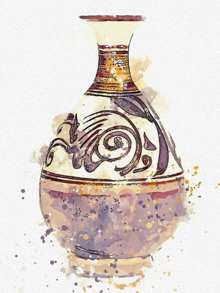 Painting - A Brown-glazed Bottle Vase Yuhuchunping Song Dynasty Watercolor By Ahmet Asar by Celestial Images