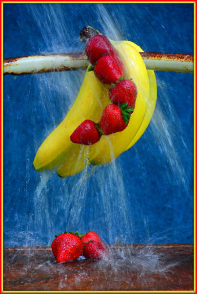 Wall Art - Mixed Media - A Bunch Of Bananas And Strawberries by Constance Lowery