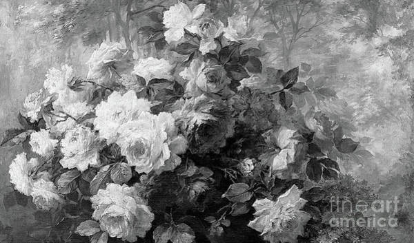 Painting - A Bunch Of Roses In A Wooded Landscape by Frans Mortlemans